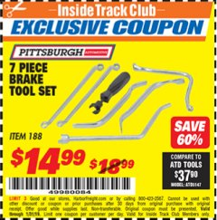 Harbor Freight ITC Coupon 7 PIECE BRAKE TOOL SET Lot No. 188 Expired: 1/31/19 - $14.99