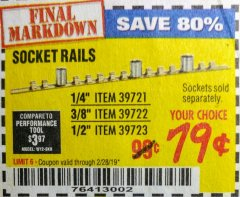 Harbor Freight Coupon SOCKET RAILS Lot No. 39721/39722/39723 Expired: 2/28/19 - $0.79