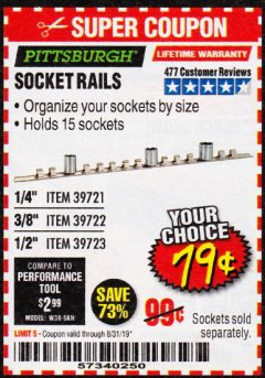 Harbor Freight Coupon SOCKET RAILS Lot No. 39721/39722/39723 Expired: 8/31/19 - $0.79