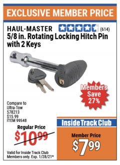 "Harbor Freight ITC Coupon 5/8"" ROTATING LOCKING HITCH PIN WITH 2 KEYS Lot No. 99548 Valid: 1/4/21 - 1/28/21 - $7.99"