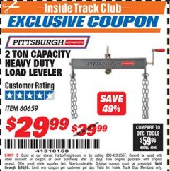 Harbor Freight ITC Coupon 2 TON CAPACITY HEAVY DUTY LOAD LEVELER Lot No. 5402/60659 Dates Valid: 12/31/69 - 6/30/18 - $29.99