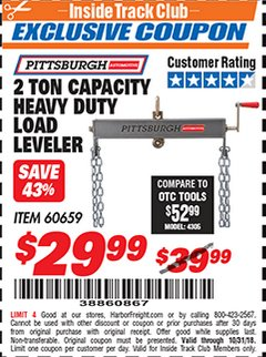 Harbor Freight ITC Coupon 2 TON CAPACITY HEAVY DUTY LOAD LEVELER Lot No. 5402/60659 Expired: 10/31/18 - $29.99