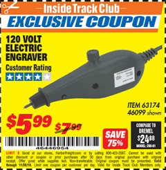 Harbor Freight ITC Coupon 120 VOLT ELECTRIC ENGRAVER Lot No. 46099/63174 Expired: 11/30/18 - $5.99