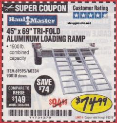 Harbor Freight Coupon SUPER-WIDE TRI-FOLD ALUMINUM LOADING RAMP Lot No. 90018/69595/60334 Expired: 6/30/18 - $74.99
