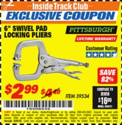 "Harbor Freight ITC Coupon 6"" SWIVEL PAD LOCKING PLIERS Lot No. 39534 Expired: 9/30/18 - $2.99"
