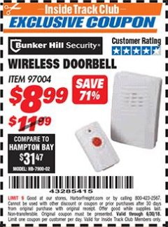 Harbor Freight ITC Coupon WIRELESS DOORBELL Lot No. 97004 Expired: 6/30/18 - $8.99