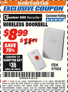 Harbor Freight ITC Coupon WIRELESS DOORBELL Lot No. 97004 Expired: 8/31/18 - $8.99