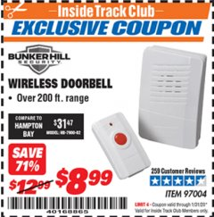 Harbor Freight ITC Coupon WIRELESS DOORBELL Lot No. 97004 Valid: 12/31/19 - 1/31/20 - $8.99