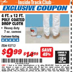Harbor Freight ITC Coupon 4 FT. x 12 FT. POLY COATED DROP CLOTH Lot No. 93713 Expired: 5/31/18 - $9.99