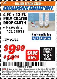 Harbor Freight ITC Coupon 4 FT. x 12 FT. POLY COATED DROP CLOTH Lot No. 93713 Expired: 7/31/18 - $9.99