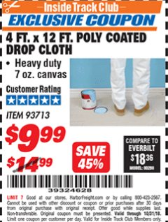 Harbor Freight ITC Coupon 4 FT. x 12 FT. POLY COATED DROP CLOTH Lot No. 93713 Expired: 10/31/18 - $9.99