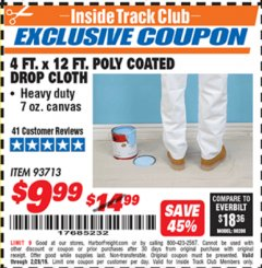 Harbor Freight ITC Coupon 4 FT. x 12 FT. POLY COATED DROP CLOTH Lot No. 93713 Expired: 2/28/19 - $9.99