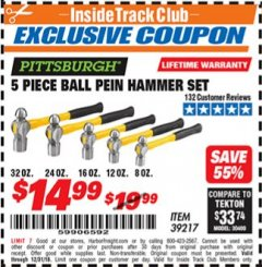 Harbor Freight ITC Coupon 5 PIECE BALL PEIN HAMMER SET Lot No. 39217 Expired: 12/31/18 - $14.99