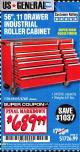 "Harbor Freight Coupon 56"", 11 DRAWER INDUSTRIAL QUALITY ROLLER CABINET Lot No. 67681/69395/62499 Expired: 2/28/17 - $689.99"