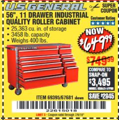 "Harbor Freight Coupon 56"", 11 DRAWER INDUSTRIAL QUALITY ROLLER CABINET Lot No. 67681/69395/62499 Expired: 7/9/18 - $649.99"