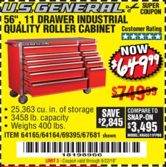 "Harbor Freight Coupon 56"", 11 DRAWER INDUSTRIAL QUALITY ROLLER CABINET Lot No. 67681/69395/62499 Valid Thru: 9/22/18 - $649.99"