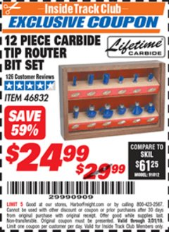 Harbor Freight ITC Coupon 12 PIECE CARBIDE TIP ROUTER BITS Lot No. 46832 Valid Thru: 3/1/19 - $24.99