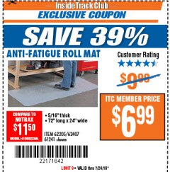 Harbor Freight ITC Coupon ANTI-FATIGUE ROLL MAT Lot No. 61241/62205/62407 Expired: 7/24/18 - $6.99