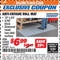 Harbor Freight ITC Coupon ANTI-FATIGUE ROLL MAT Lot No. 61241/62205/62407 Expired: 10/31/18 - $6.99