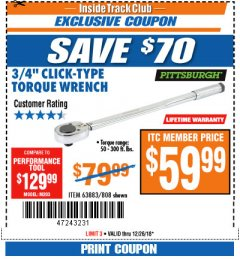 "Harbor Freight ITC Coupon 3/4"" DRIVE TORQUE WRENCH Lot No. 808/63883 Expired: 12/26/18 - $59.99"