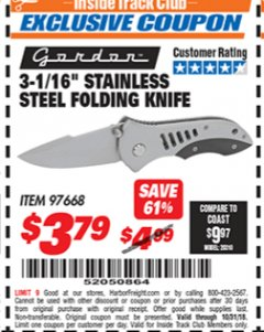 "Harbor Freight ITC Coupon 3-1/16"" STAINLESS STEEL FOLDING KNIFE Lot No. 97668 Expired: 10/31/18 - $3.79"
