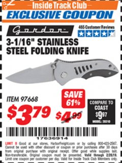 "Harbor Freight ITC Coupon 3-1/16"" STAINLESS STEEL FOLDING KNIFE Lot No. 97668 Expired: 2/28/19 - $3.79"
