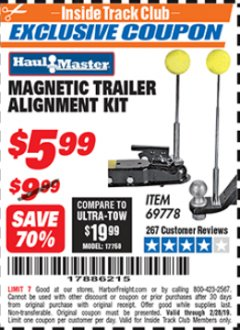 Harbor Freight ITC Coupon MAGNETIC TRAILER ALIGNMENT KIT Lot No. 95684/69778 Dates Valid: 12/31/69 - 2/28/19 - $5.99
