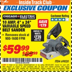 "Harbor Freight ITC Coupon 4"" x 24"" VARIABLE SPEED PROFESSIONAL BELT SANDER Lot No. 69820 Expired: 10/31/18 - $59.99"