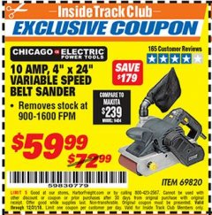 "Harbor Freight ITC Coupon 4"" x 24"" VARIABLE SPEED PROFESSIONAL BELT SANDER Lot No. 69820 Expired: 12/31/18 - $59.99"