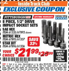 "Harbor Freight ITC Coupon 8 PIECE 1/2"" DRIVE IMPACT HEX SOCKET SETS Lot No. 61335/67893/67895/61337 Expired: 5/31/18 - $21.99"