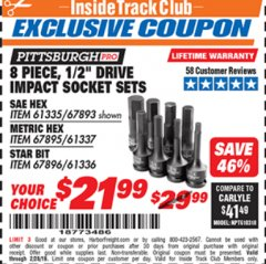 "Harbor Freight ITC Coupon 8 PIECE 1/2"" DRIVE IMPACT HEX SOCKET SETS Lot No. 61335/67893/67895/61337 Dates Valid: 2/1/19 - 2/28/19 - $21.99"