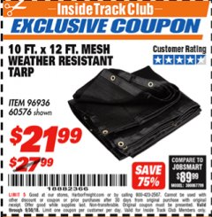 Harbor Freight ITC Coupon 10 FT. x 12 FT. MESH ALL PURPOSE WEATHER RESISTANT TARP Lot No. 60576/96936 Expired: 9/30/18 - $21.99