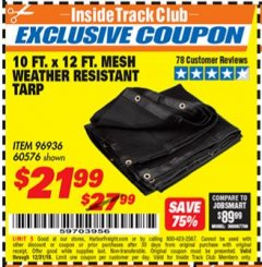 Harbor Freight ITC Coupon 10 FT. x 12 FT. MESH ALL PURPOSE WEATHER RESISTANT TARP Lot No. 60576/96936 Expired: 12/31/18 - $21.99