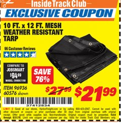 Harbor Freight ITC Coupon 10 FT. x 12 FT. MESH ALL PURPOSE WEATHER RESISTANT TARP Lot No. 60576/96936 Expired: 8/31/19 - $21.99