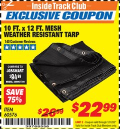 Harbor Freight ITC Coupon 10 FT. x 12 FT. MESH ALL PURPOSE WEATHER RESISTANT TARP Lot No. 60576/96936 Expired: 1/31/20 - $22.99