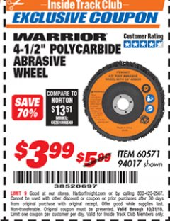 "Harbor Freight ITC Coupon 4-1/2"" POLYCARBIDE ABRASIVE WHEEL Lot No. 60571/94017 Dates Valid: 12/31/69 - 10/31/18 - $3.99"