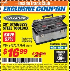 "Harbor Freight ITC Coupon 20"" STAINLESS STEEL TOOLBOX Lot No. 61572/93168 Expired: 6/30/18 - $16.99"