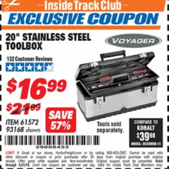 "Harbor Freight ITC Coupon 20"" STAINLESS STEEL TOOLBOX Lot No. 61572/93168 Expired: 3/31/19 - $16.99"