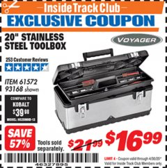 "Harbor Freight ITC Coupon 20"" STAINLESS STEEL TOOLBOX Lot No. 61572/93168 Expired: 4/30/20 - $16.99"