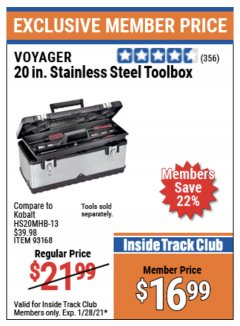 "Harbor Freight ITC Coupon 20"" STAINLESS STEEL TOOLBOX Lot No. 61572/93168 Valid Thru: 1/28/21 - $16.99"