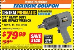 "Harbor Freight ITC Coupon 3/4"" HEAVY DUTY AIR IMPACT WRENCH Lot No. 60808/66984 Dates Valid: 12/31/69 - 6/30/18 - $79.99"
