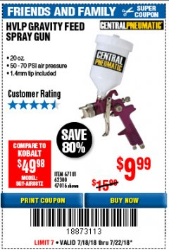 Harbor Freight Coupon 20 OZ. HVLP GRAVITY FEED AIR SPRAY GUN WITH REGULATOR Lot No. 62381/69705 Expired: 7/22/18 - $9.99
