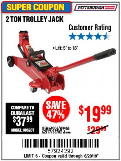 Harbor Freight Coupon 2 TON TROLLEY JACK Lot No. 68783/69306/69468/62117 Expired: 8/20/18 - $19.99