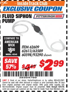 Harbor Freight ITC Coupon FLUID SIPHON PUMP Lot No. 93290/60598/62609/62613 Expired: 8/31/19 - $2.99