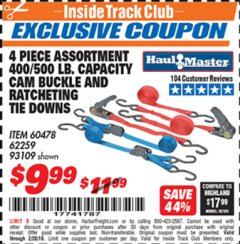 Harbor Freight ITC Coupon 4 PIECE RATCHETING/CAM TIE DOWN SET Lot No. 93109/60478/62259 Dates Valid: 12/31/69 - 2/28/19 - $9.99