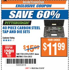 Harbor Freight ITC Coupon 40 PIECE CARBON STEEL TAP AND DIE SETS Lot No. 63016/62831/62832 Expired: 12/4/18 - $11.99
