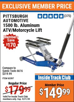 Harbor Freight ITC Coupon 1500 LB. CAPACITY LIGHTWEIGHT ALUMINUM MOTORCYCLE LIFT Lot No. 63397 Expired: 9/21/20 - $149.99
