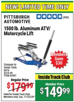 Harbor Freight Coupon 1500 LB. CAPACITY LIGHTWEIGHT ALUMINUM MOTORCYCLE LIFT Lot No. 63397 Expired: 11/25/20 - $149.99