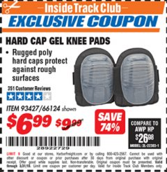 Harbor Freight ITC Coupon HARD CAP GEL KNEE PADS Lot No. 66124 Expired: 3/31/19 - $6.99