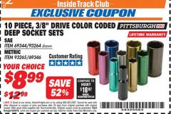 "Harbor Freight ITC Coupon 10 PIECE 3/8"" DRIVE COLOR CODED DEEP WALL SOCKET SETS Lot No. 69344/93264/69346/93265 Expired: 6/30/18 - $8.99"